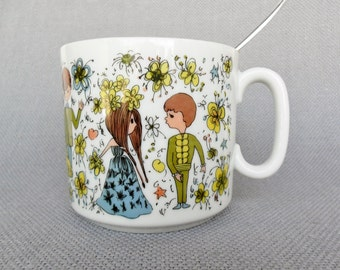 60s Retro Mug Teen Couple Tea Coffee Love Mug 1 Available Teenagers Cup 1960s Teen Boyfriend Girlfriend Dating Prom Party Mug Japan 8014