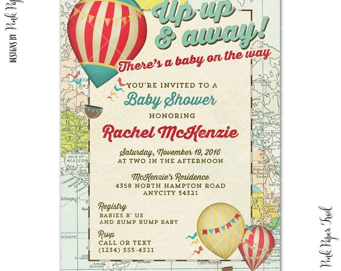 Hot Air Balloon Invitation, Birthday Invitation, Baby Shower Invitation, Hot Air Balloon, I will customize, Print Your Own