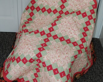 Double Irish Chain Quilt, Floral, Hand Quilted and Tied, Decorative Pearl Accents