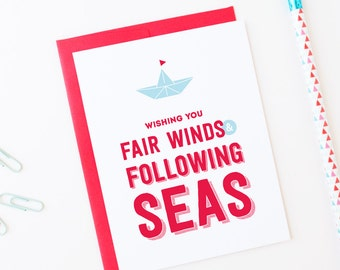 Best Wishes | Good Luck Greeting Card | Fair Winds & Following Seas