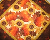 Reserved for Chris Autumn Table Topper, leaves, pumpkins,sunflowers, Thanksgiving, metallic, quilted, fabric from Hoffman