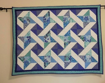 Blue White Wall Hanging, Lap quilt, patchwork, pieced