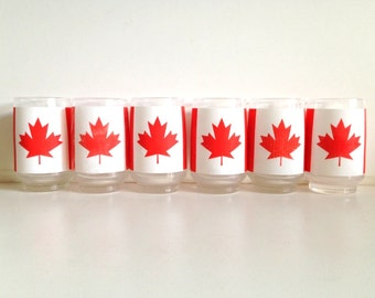 Vintage Canadian Red & White Drinking Glasses