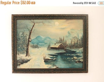SHOP SALE Vintage Winter Moonlight Landscape Painting