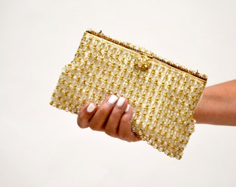 Vintage Beaded Clutch Handbag Purse Bag Glass and Gold // Vintage wedding Evening Bag Clutch Gold and Glass Clear beads Made in Paris