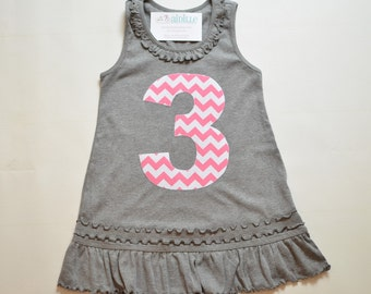 Girls 3rd Birthday Dress, Pink and Gray, Tank Top Ruffle Tunic, Grey, Pink Chevron, Applique Number 3 Dress, Ready to Ship, Size 3 2T 3T