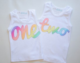 Girls Birthday Tank Top in Rainbow Cursive Font One Two Three Four Five Six Seven Eight Birthday Shirt Applique Made to Order White Top Age