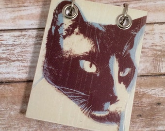 Cat Notebook - Recycled Notebook - Small Refillable Notepad - Upcycled Postcard