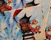 Whimsical owl art sticker kids stationery cute painter artist woodland envelope decorations