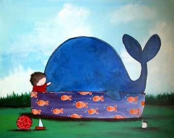 Whale Kids Wall Art Original Painting Cute Whimsical Storybook Style Artwork Nursery Baby Room Decor Childrens Playroom Decoration