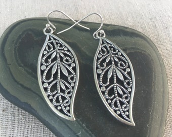 Silver Filigree Leaf Earrings - Silver Leaf Earrings - Boho Leaf Earrings - Bohemian Jewelry