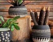 Reserve for Tomislava Ceramic planter pottery black and white