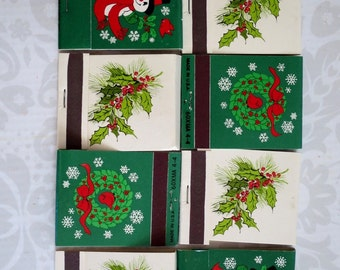 Vintage 70s Christmas Holiday Matchbooks, Hallmark Holiday Xmas Match Books Unused, Candle Accessories Stocking Stuffers Christmas in July