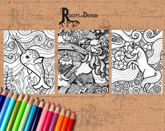 Instant Download- Land Unicorn and Sea Unicorn (Narwhal) - Coloring Page or Print
