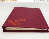MOVING SALE Refillable Journal Sketchbook, 6x8 Hardcover, Orange Leaves on Merlot, In Stock