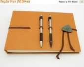 MOVING SALE Hardcover Sketch Book, Art Journal, Spiced Orange with Leather and Beach Stone, In Stock