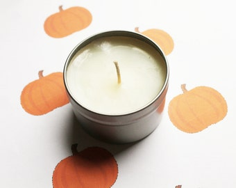 Pumpkin Scented Candle - Vegan Candle - Homemade Candles - Natural Candles - Tin Candle - Container Candle