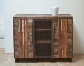 Reclaimed Shenandoah Cabinet with Drawers and Steel Mesh Door