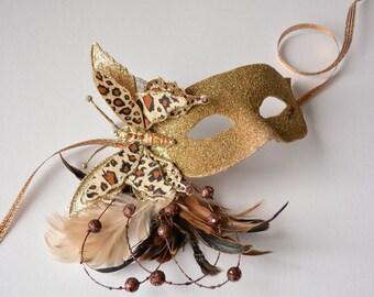 MASK- Leopard Butterfly- masquerade mask, Mardi Gras,ballroom, fairy, Venetian, Halloween