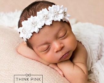 White baby headband, Newborn headband, Christening Headband, Baptism Headband,Baby girl flower Headband, Rhinestone baby headband,Headbands.