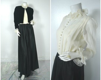 60s ruffle collar black white formal evening gown