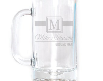 Personalized Small Beer Mug - 16 oz. - 8505 Ribbon Monogram Personalized