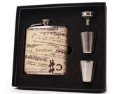 Personalized flask gift set for men and women // Vintage sheet music design