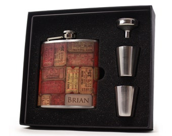 Vintage Theatre Tickets Personalized Flask Gift Set