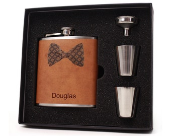 Personalized Flask for Men // Brown Square Bow Tie Flask