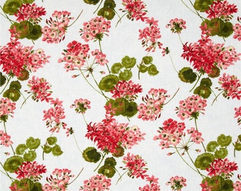 Geranium in White and Pink  4782-9  - SUNDANCE by Ann Lauer - Benartex Fabrics - By the Yard