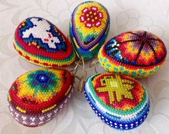 Set of 5 Huichol Eggs Ornament