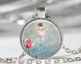Flower Fairy Necklace Woodland Fairies Jewelry Fantasy Art Pendant in Bronze or Silver with Link Chain Included