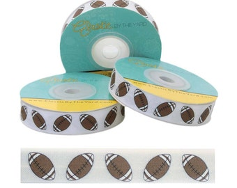 """Brown Football On White - Fold Over Elastic - 5/8"""" - 5 YARDS"""