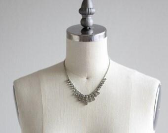 Vintage Rhinestone Necklace . 30s Womens Necklace . Wedding Bridal Necklace
