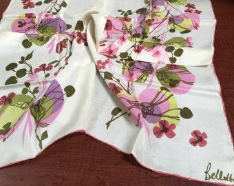 "Vintage Bellotti Pink Floral Square Silk 30"" Scarf - spring scarf, floral scarf, Bellotti scarf, vintage scarf"