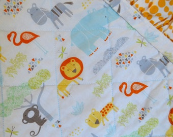 Baby Quilt, Tropical Jungle with Gathered (Ruching) Edge