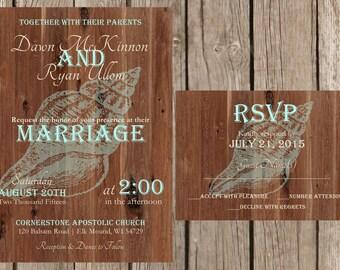 Rustic Beach Wedding Invitation, Beach Wedding Invitation, Desitnation Wedding Invitation, Sea Shell Wedding Invitation, Custom