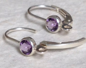 Amethyst & Sterling Silver Leverback Ear Wires -  1 Pair -  21 Gauge -  E25