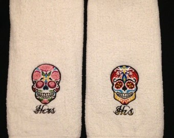 Sugar Skull Hand Towel Set His/Hers