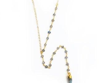 Gemstone Lariat Necklace - Labradorite necklace, Y necklace, lariat necklace, gemstone necklace, layering necklace