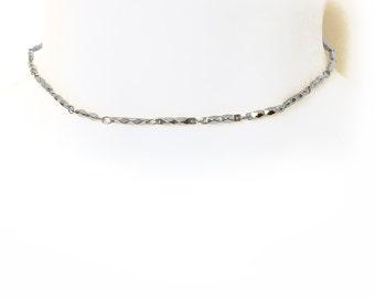 Pyramid Chain Choker - Silver