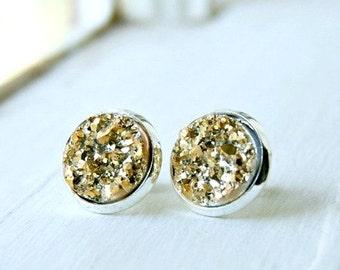 gold druzy post earrings, stud earrings, druzy studs, gold silver, gift for her