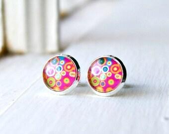 colorful post earrings, pink earrings, stud earrings, gifts for her