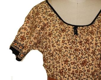 1960s /1970s Hippy Boho Cotton Fabric Midi dress one size