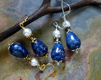 Blue Lapis Lazuli and Pearl Silver/Gold Earrings-Lapis Lazuli Silver Earrings,Wire Wrapped Lapis Earrings. Blue Dangling Earrings