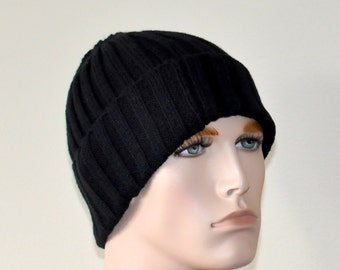 Mens hat Black Man Beanie Hat Winter Adult Teen Mens Hat  Black Mens Winter Hat Christmas Gift