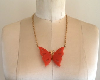 Vintage MAD MEN Style Retro Orange Tangerine Butterfly Necklace Gold Tone Setting