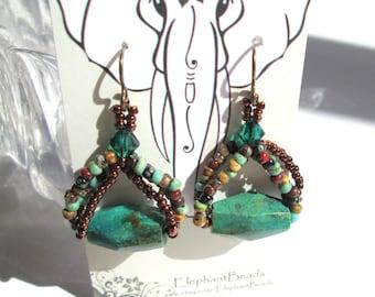 Aztec Sky Earth Tone Beaded Earrings, Beadwork Green Turquoise Brown Czech Glass, Boho Chic Dangle Earrings, Swarovski Green Crystal