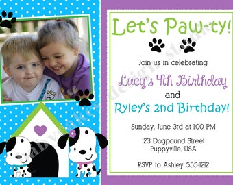 Puppy Party Birthday Invitation for Siblings Boy Girl Twins - DIY Print Your Own - Matching Party Printables available