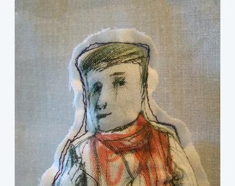 art doll man boy fabric Real People originalJack handmade hand painted textile OOAK figurative